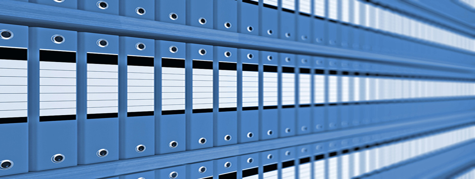 Rows of file folders on a shelf.